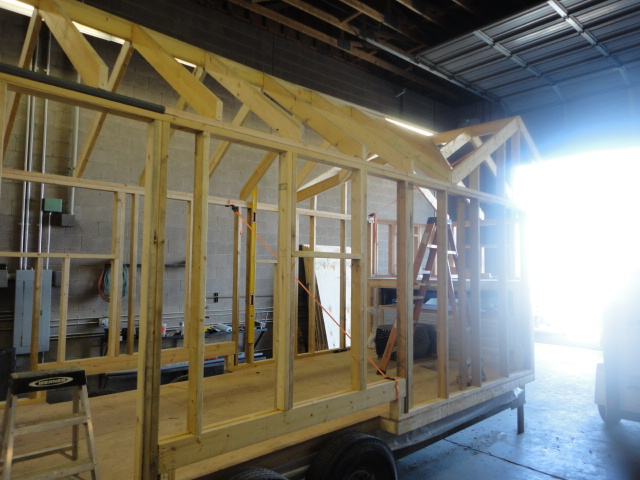 Tiny House Progress roof framing and exterior wall sheeting