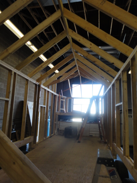 Tiny House Progress roof framing and exterior wall