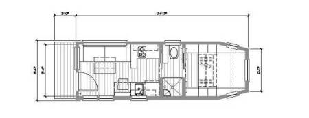 Our custom tiny home plan.  Storage compartments are below and in the arms of the built-in couch. We didn't want to have to climb a ladder into a loft, so the bed is located over the gooseneck hitch, accessed via stairs with built-in dresser drawers on either side.  A half-height clothes closet is tucked under the foot of the bed.