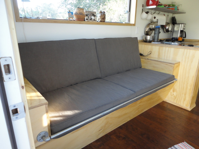Another Photo Of The Finished Couch Cushions. The Pipe Was To Keep Our  Futon From Sliding Off!