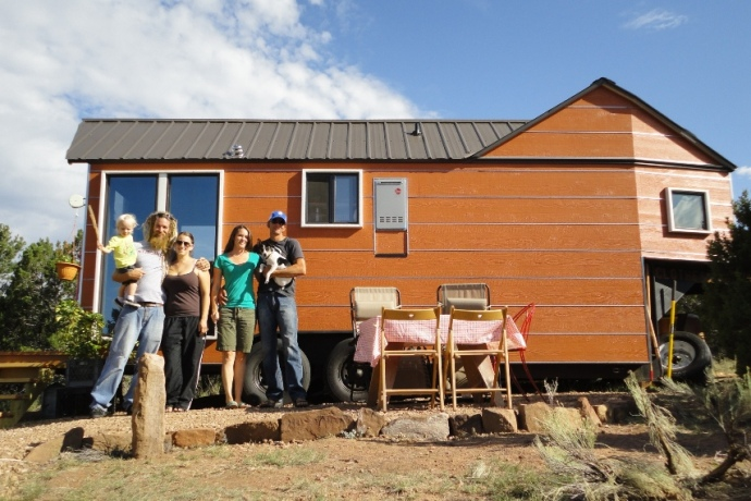 Family visits us at the Tiny House.