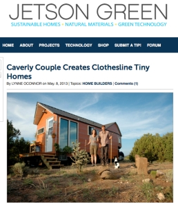 Article about Clothesline Tiny Homes on Jetson Green