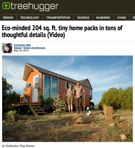 Article about Clothesline Tiny Homes on Treehugger.com May 19, 2013