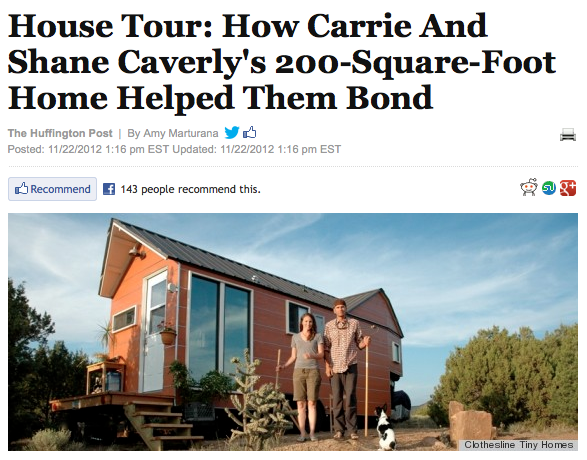 Clothesline Tiny Homes house tour on Huffington Post Home {November 23, 2012}