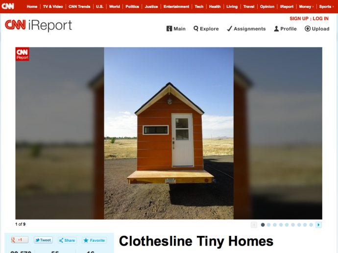 Clothesline Tiny Homes article was featured on CNN's website and report of tiny home living {July 16, 2012}
