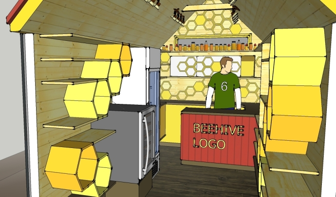 Clothesline Tiny Homes' preliminary design for the Beehive Mini Mart.