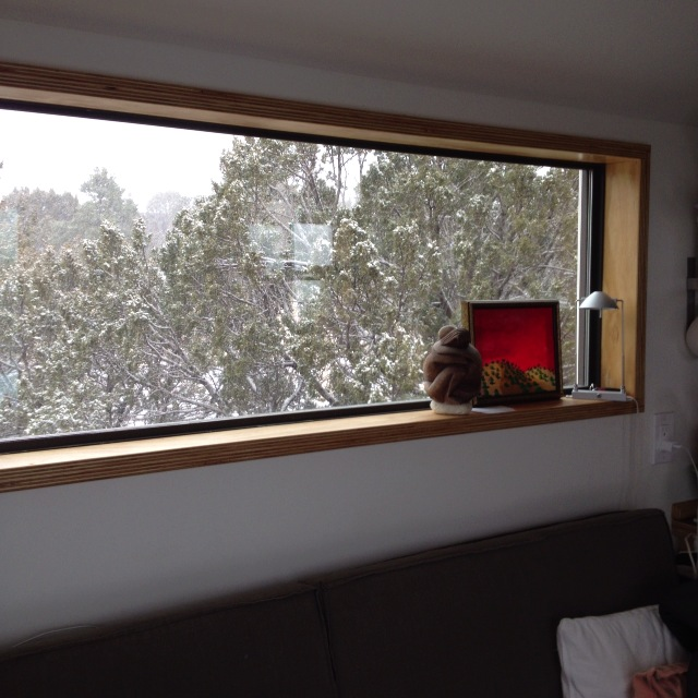 Winter in our Tiny House - view of the snow from inside the living room