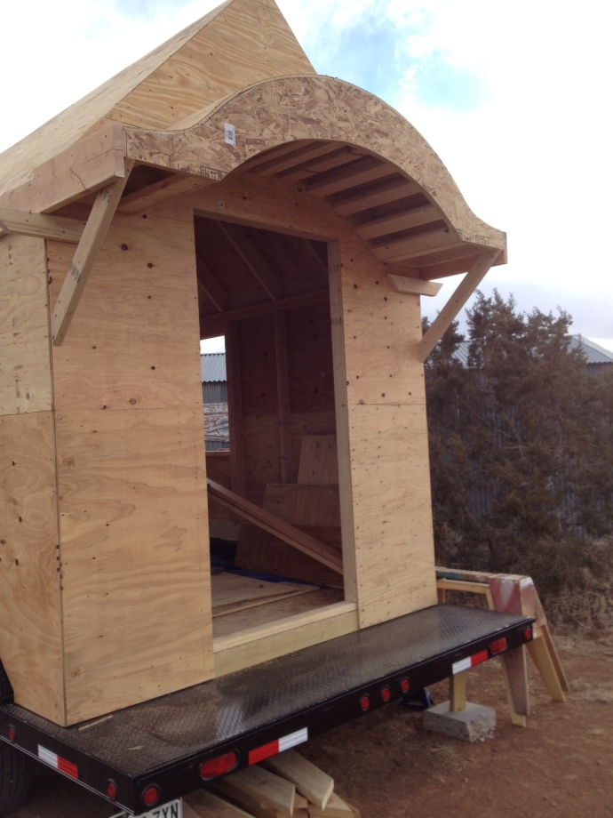 Beehive Roof Framing and Wall Sheathing Clothesline