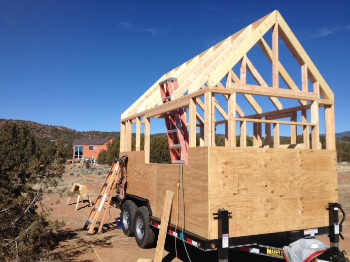 Beehive Mini Mart / Tiny House: Roof is framed and we're sheathing the walls