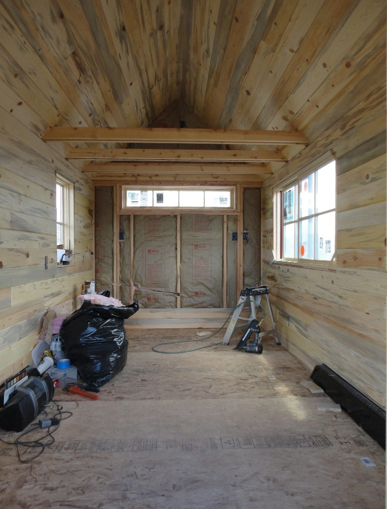 Tiny House Interior Paneling Installed On The Walls And Ceilings.  Blue Stain / Beetle