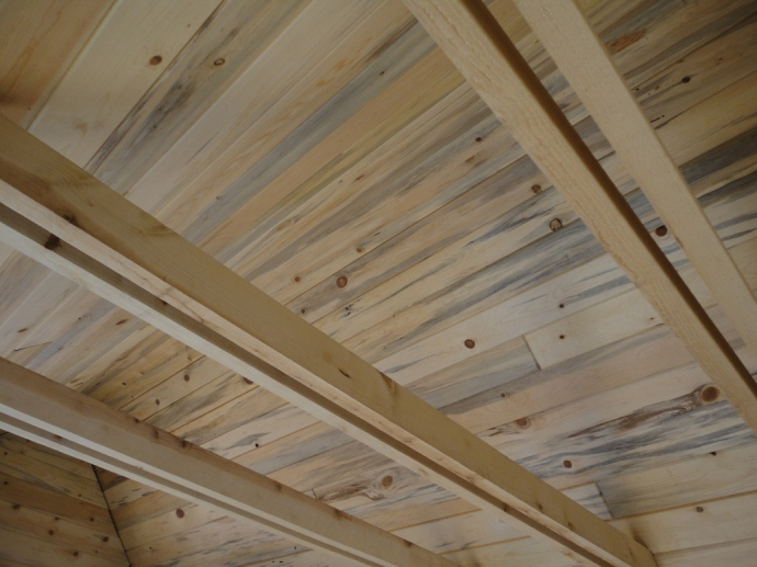 Blue stain pine tongue and groove ceiling.