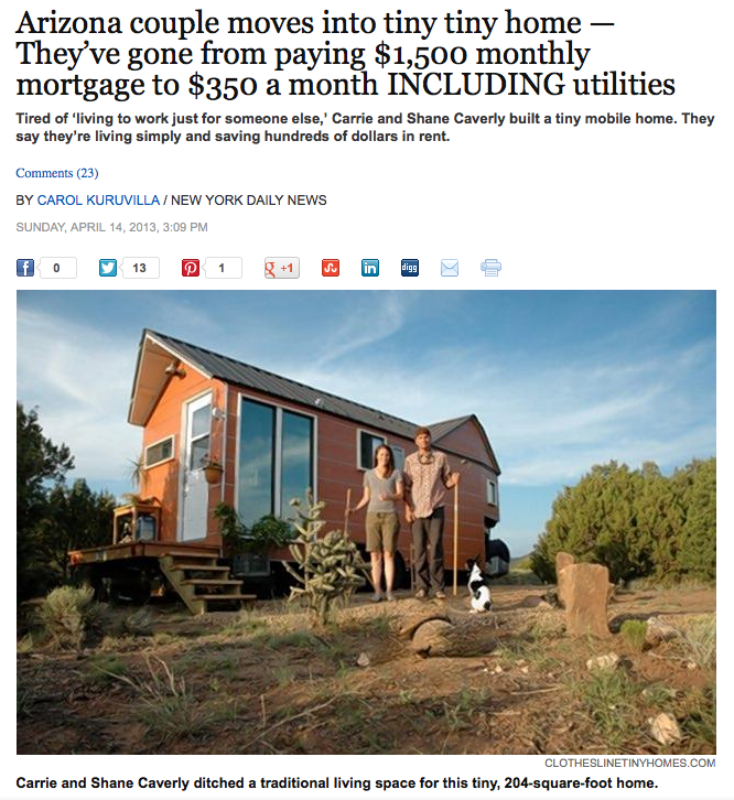NY Daily News wrote a story about Clothesline Tiny Homes.