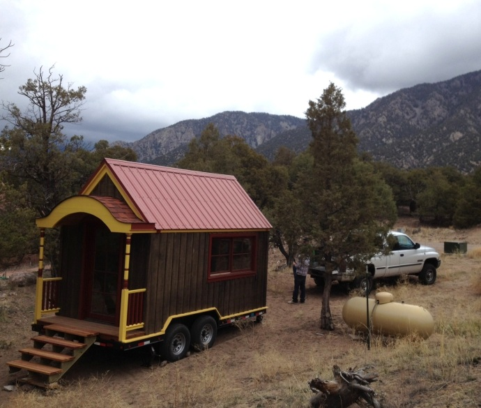 The Beehive tiny house in it's new (temporary) home in Crestone, CO.