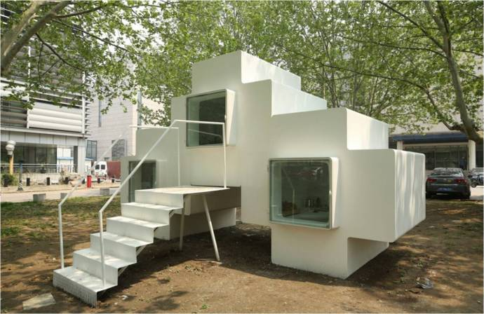 Studio Liu Lubin's Micro House - stackable fiberglass units.
