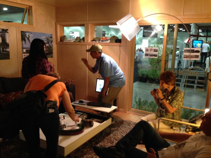 Altius Prefab Solo 1 model at the Dwell on Design show in L.A.  Inside the living room... crowded!