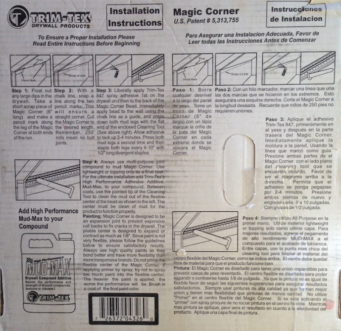 Tiny house drywall trim - Trim Tex Magic Corner - installation instructions.