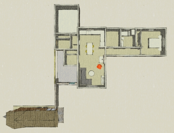 The house was designed for the easy addition of a 2nd Bedroom and Bathroom.