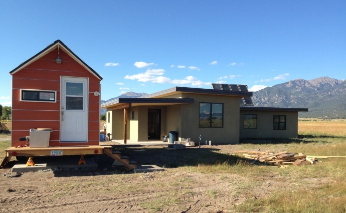 The south side of our new house and the tiny house entry.