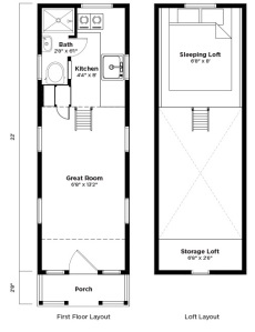 "Tumbleweed's Elm model is 7'-6"" wide x 24'-0"" long x 13'-4"" high.  Compact living for one occupant; 161sf on the main level with 46sf of space in the 3'-6"" high sleeping loft accessed by ladder.  $66,000 to purchase fully built from Tumbleweed."